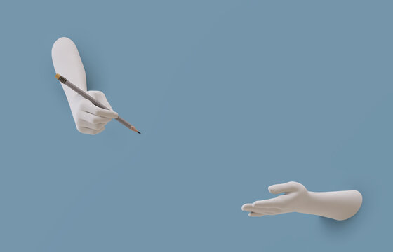 Decorative female hands of a mannequin protruding from the wall. One hand holds a pencil, the other points.3d illustration. Render.