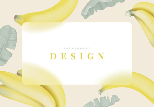 Fruit background design, Cavendish bananas with leaves