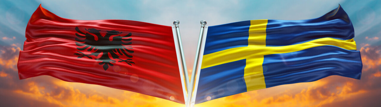 Sweden Flag and Albania flag waving with texture sky Cloud and sunset Double flag
