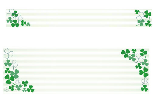 Banner illustration with multiple clovers and horizontal stripes in the background.