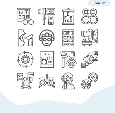 Simple set of cognitive process related lineal icons.