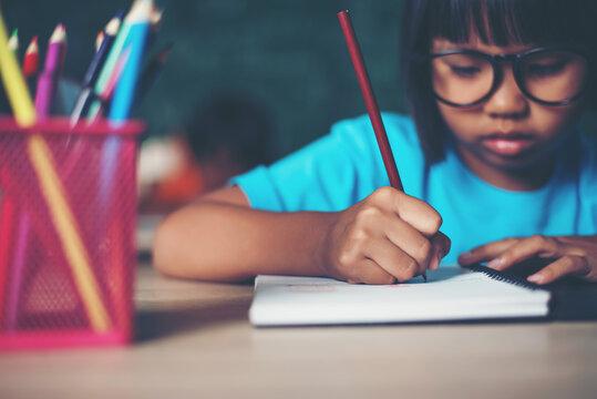 Girl Studying Against Blackboard In Classroom