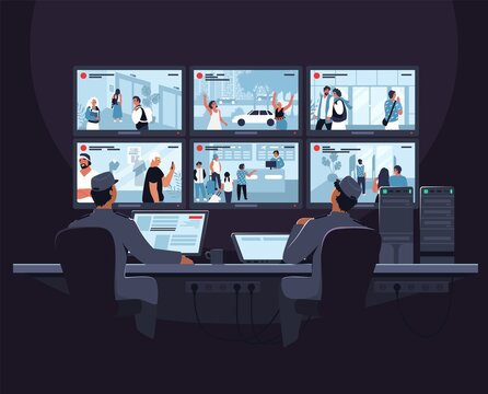 Security room. Two male security guard cartoon characters monitoring cctv video footage on computer screen, flat vector illustration. Video surveillance system.