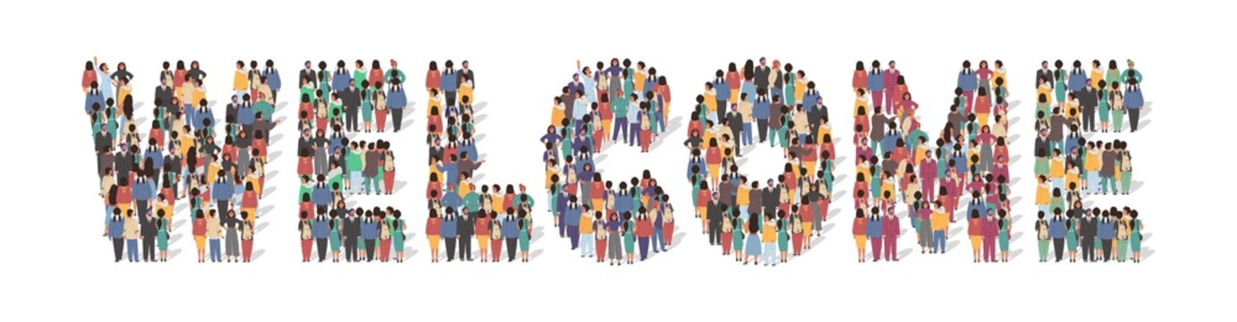 Welcome typography banner. Large group of people standing together in the shape of Welcome word, flat vector illustration. People crowd gathering. New team member greeting concept.