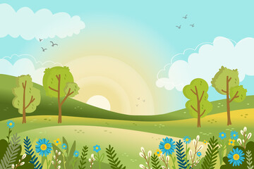 Spring landscape scene Vector illustration.