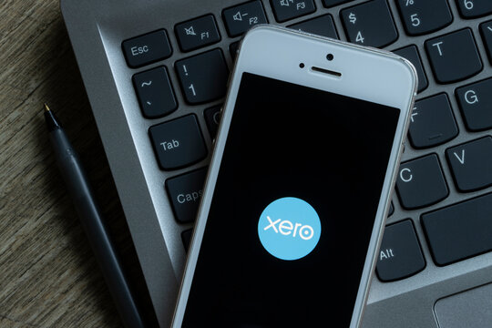 Portland, OR, USA - Feb 9, 2021: Xero mobile app welcome page is seen on an iPhone. Xero is a cloud-based accounting software platform for small and medium-sized businesses.