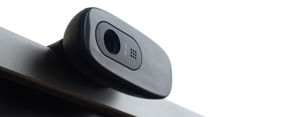 Close-up Of Webcam On Monitor Against White Background