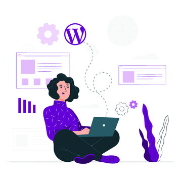 A woman sitting with laptop illustration