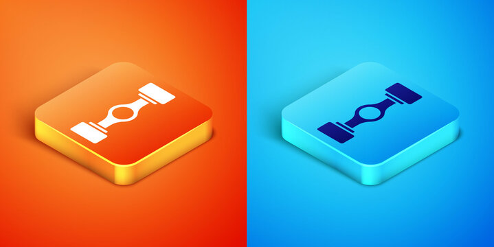 Isometric Chassis car icon isolated on orange and blue background. Vector.