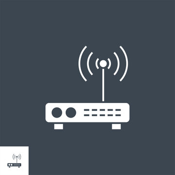 Router related vector glyph icon. Isolated on black background. Vector illustration.