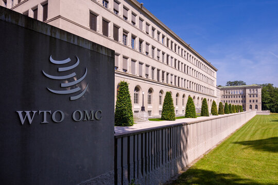 Geneva, Switzerland - june 10, 2018: sign and logo of the Center William Rappard, Home of the World Trade Organization (WTO)