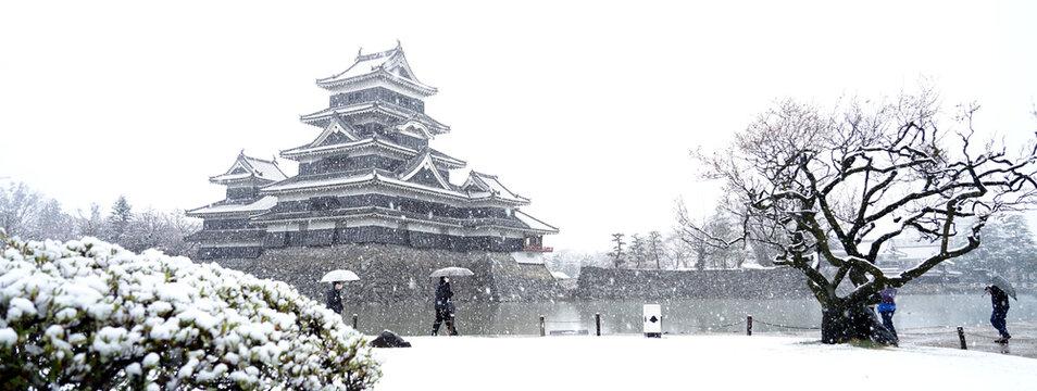 Heavy snow at Matsumoto castle in Matsumoto city of Japan.