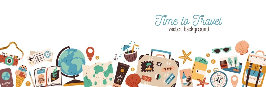 Banner with traveling and tourism elements. Colorful touristic objects like backpack, suitcase, map and globe and place for text. Summer holiday background. Colored flat vector illustration