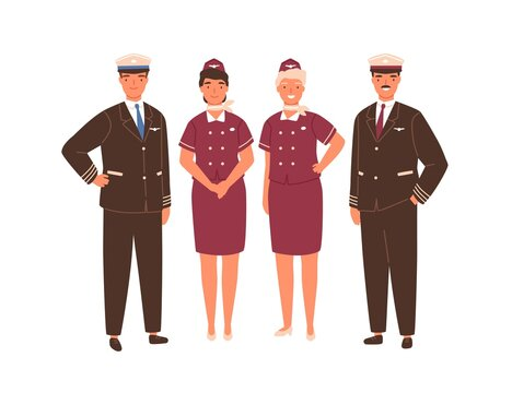 Aircraft captain, pilot assistant and stewardesses standing in uniform. Professional airplane staff or crew. Team of smiling airline workers isolated on white background. Flat vector illustration