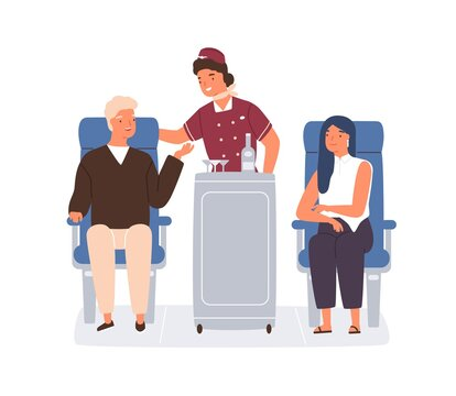 Friendly stewardess rolling trolley and serving passengers in plane. Man ordering drinks and food from flight attendant in aircraft. Colored flat vector illustration isolated on white background
