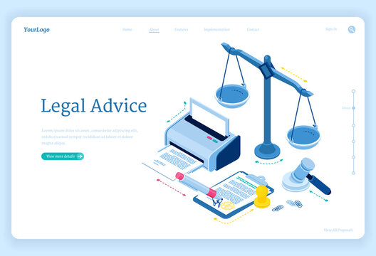 Legal advice isometric landing page. Lawyer assistance for regulation legal issues and compliance to rules. Advocate attorney service, 3d vector web banner with scales, printer, gavel and documents