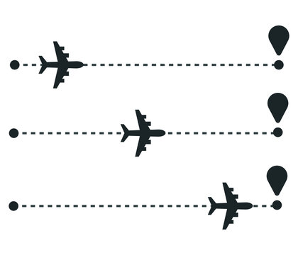 Airplane travel concept. Plane with start point and route dash line. Flight vector illustration.