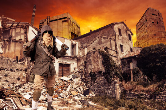Cyber punk, postapocalyptic world, man in goggles among ruins of city