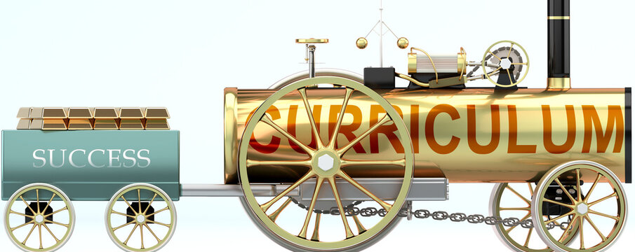 Curriculum and success - symbolized by a steam car pulling a success wagon loaded with gold bars to show that Curriculum is essential for prosperity and success in life, 3d illustration