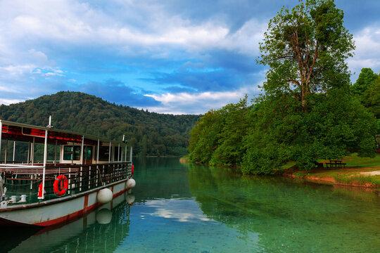the lake in Plitvice Lakes National Park, Croatia.