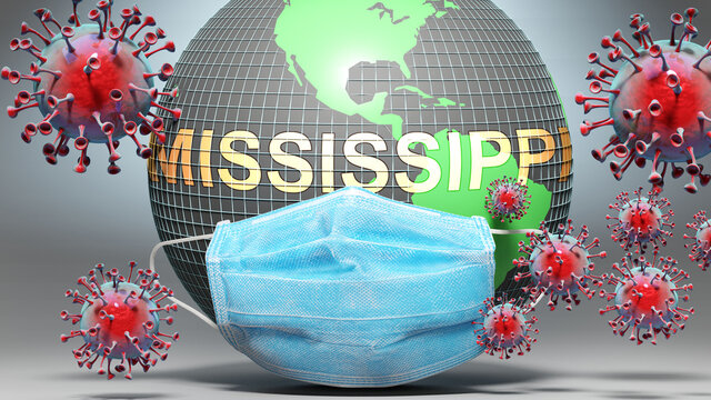 Mississippi and covid - Earth globe protected with a blue mask against attacking corona viruses to show the relation between Mississippi and current events, 3d illustration
