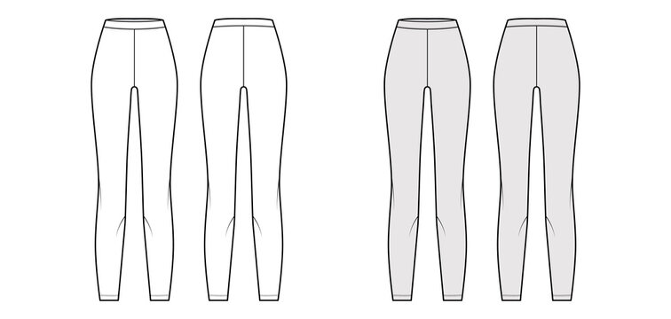 Leggings knit pants technical fashion illustration with normal waist, high rise, full length. Flat sport training, casual apparel template front, back, white grey color. Women men unisex CAD mockup