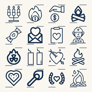 Simple set of passion related lineal icons.