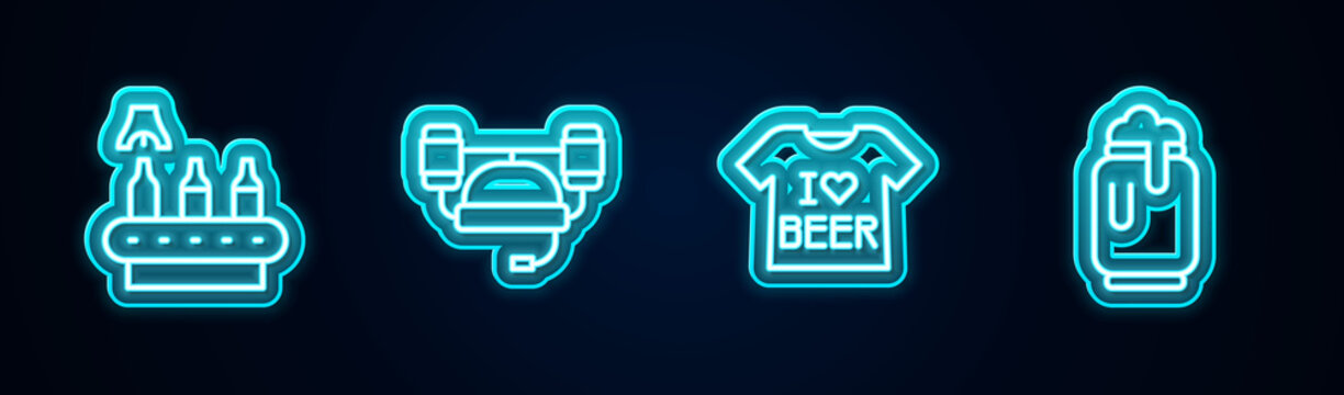 Set line Conveyor band, beer, Beer helmet, T-shirt and can with foam. Glowing neon icon. Vector.