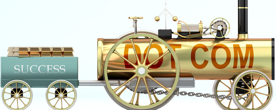Dot com and success - symbolized by a steam car pulling a success wagon loaded with gold bars to show that Dot com is essential for prosperity and success in life, 3d illustration