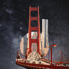 Modern city with skyscrappers settled in outer space. Collage with cosmos and astronomy theme....