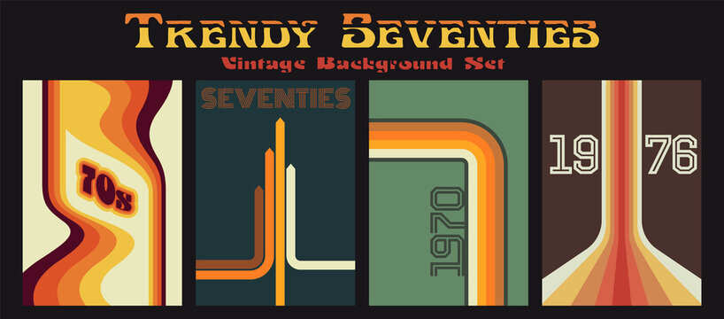 1970s Backgrounds, Cover, Poster Templates, Vintage Color Lines