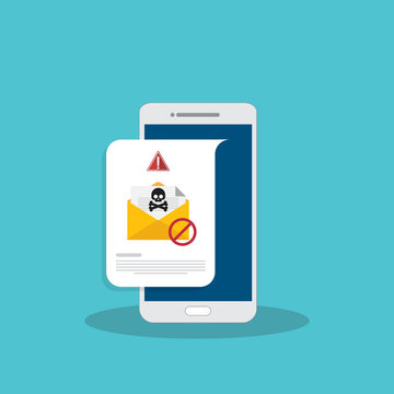 Mobile phone with email, envelope with black document and skull icon notification. Virus, malware, email fraud, e-mail spam, phishing scam, hacker attack concept. Vector illustration
