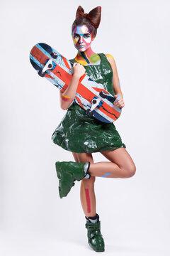 Model in creative comics character image with pop art makeup