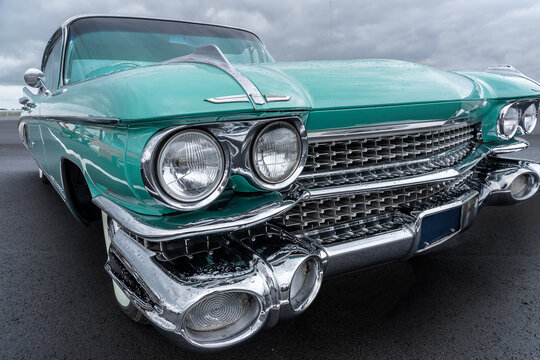 BOSSCHENHOOFD, NETHERLANDS - Feb 06, 2021: Side view of a classic american car from the fifties. Low angle
