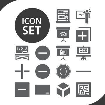 Simple set of maths related filled icons.