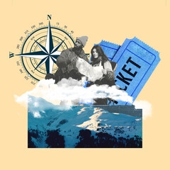 Vacation theme with sea waves, compass and travel tickets. Tourists looking for road. Copyspace....