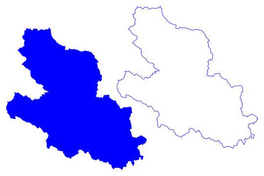 LAquila province (Italy, Italian Republic, Abruzzo or Abruzzi region) map vector illustration, scribble sketch Province of L'Aquila map