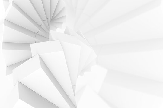 3d rendering. abstract modern white several square shape stack wall background.