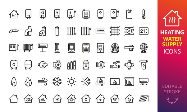 Home heating, cooling and water supply system isolated icon set. Set of heating boiler, electric water heater, solid fuel boiler, air conditioning, oil radiator, coaxial chimney pipes vector icons