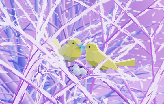 two beautiful lovers low poly birds sitting on a branch with nest in fairy forest, male feeds female with butterfly, care and love concept, 3d render