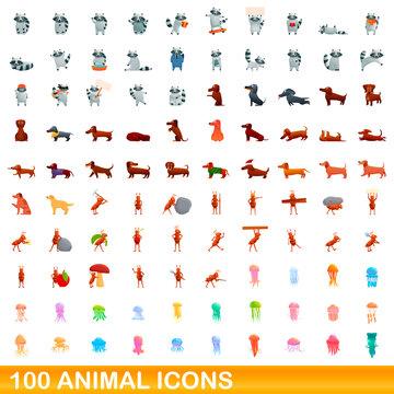 100 animal icons set. Cartoon illustration of 100 animal icons vector set isolated on white background