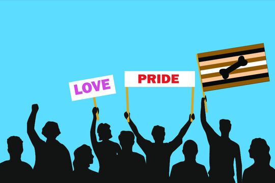 Vector illustration of the crowd that is expressing its attitude regarding to Puppy pride on white background. Love and Pride posters.