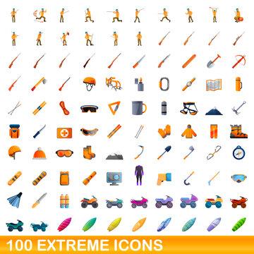 100 extreme icons set. Cartoon illustration of 100 extreme icons vector set isolated on white background