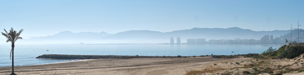 Panoramic view empty beach of Cullera town, Costa Blanca. Spain Wall mural