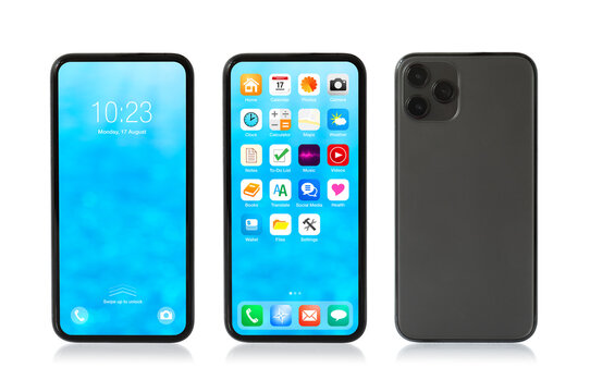Mockup photo of isolated mobile phone showing locked and home screens, and back side view. User interface and icons are made up.