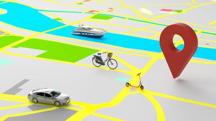 Verschiedene Verkehrsmittel in Stadt als Mobilität Konzept