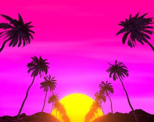 Retrowave Tropical Landscape. Palms, Mountains and Sun.