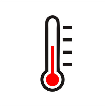 Temperature icon in flat style. Weather symbol isolated on white background Sun and thermometer icon in black. Hot and warm weather concept. Vector illustration for graphic design, Web, applications.