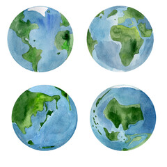 Fototapeta Planet earth seas continents watercolor set. Template for decorating designs and illustrations.