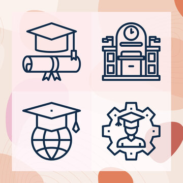 Simple set of campus related lineal icons